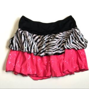 Weissman Skirt Dance Sequin Animal Pink Ruffle